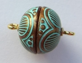 Magnetic Clasp Acrylic Copper Patina 14 mm S483 (per 1)