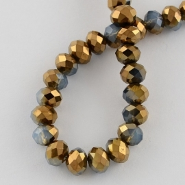 Faceted Rondelles 6 x 8 mm Blue Opal Copper Plated F728 (per 71 beads)
