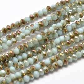 Faceted Rondelles 2 x 3 mm Opaque Mint Bronze Plated F1119 (per 148 beads)
