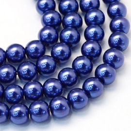 Glass Pearls Dark Blue 6 mm *19 (80 cm strand)