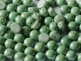 2-Hole Cabochon 6 mm Chalk White Teal Luster (per 8)