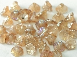 Flower Cup Beads 7 x 5 mm Crystal Brown Rainbow (per 18)