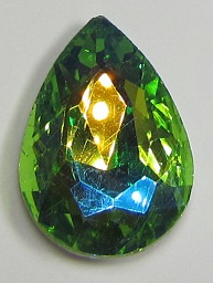 Glass Drop 20 x 30 mm Green AB Plated (per 1)