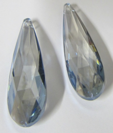 Glass Drop 75 x 21 mm Luster Transparent Blue (per 1)