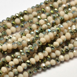 Faceted Rondelles 2 x 3 mm Opaque Cream Green Plated F1128 (per 148 beads)