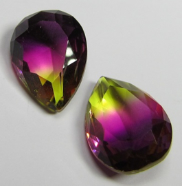 Glass Drop 13 x 18 mm Unfoiled Dual Coated Purple/Yellow (per 1)