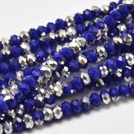 Faceted Rondelles 2 x 3 mm Opaque Blue Silver Plated F1132 (per 148 beads)