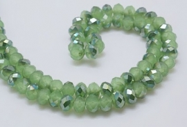 Faceted Rondelles 2 x 3 mm Milky Green Dark Green Plated F921 (per 148 beads)