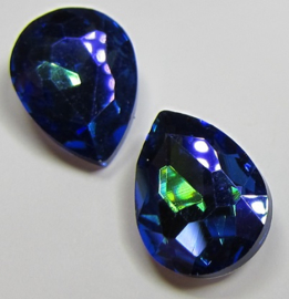 Glass Drop 13 x 18 mm Blue Purple Plated (per 1)