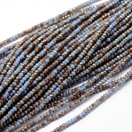 Faceted Rondelles 2 x 3 mm Opaque Light Sapphire Copper Plated F1163 (per 148 beads)