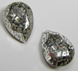 Glass Drop 13 x 18 mm Crystal Silver Patina (per 1)