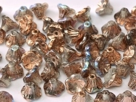 Flower Cup Beads 7 x 5 mm Crystal Copper Rainbow (per 18)