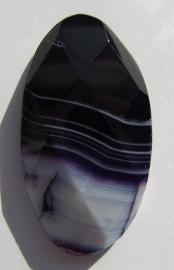 Cabochon Agate Stripe Dark Purple Faceted C728 (per 1)