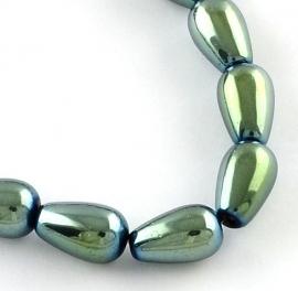 Glass Drops 11 x 8 mm Metallic Blue Green Plated F956 (per 62)