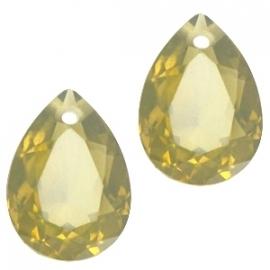 Resin Drop Pendant 10 x 14 mm Khaki Green Opal (per 2)
