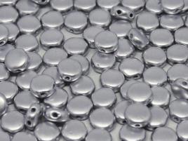 DiscDuo Beads 6 x 4 mm Aluminium Silver (per 25)