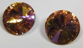 Glass Rivoli 18 mm Rose Purple Plated (per 1)