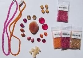 Cabochonpakket 23 Fuchsia/Oranje (per pakketje)
