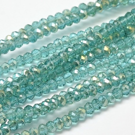 Faceted Rondelles 2 x 3 mm Transparent Turquoise Golden Plated F1143 (per 148 beads)