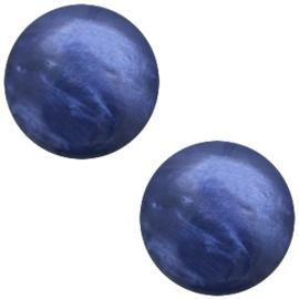 Polaris Cabochon Coin 12 mm Mosso Shiny Midnight Blue (per 1)
