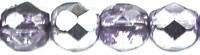 Facet 4 mm Coated 1/2 Silver/Violet (per 50)