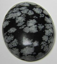 Cabochon Sneeuwvlok Obsidiaan C1175 (per stuk)
