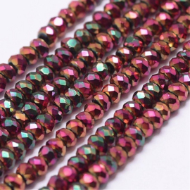 Faceted Rondelles 1,5 x 2 mm Metallic Sliperit Plated F1293 (per 198 beads)