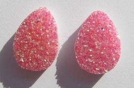 Cabochon Druzy Look-a-Like Pink G332 (per 2)