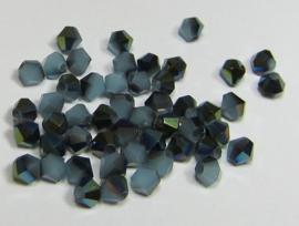 Glas Bicones 4 mm Aqua Opal Vitrail Plated (per 50)