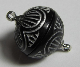 Magnetic Clasp Acrylic Black Silver 14 mm S545 (per 1)