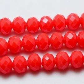 Faceted Rondelles 6 x 8 mm Luster Opaque Dark Orange F347 (per 70 beads)