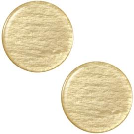 Polaris Cabochon Coin Flat 12 mm Soft Shiny Khaki Green (per 1)