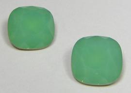 Glas Vierkant 12 mm Green Opal (per stuk)