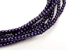 Glass Pearls Dark Eggplant 3 mm (44 cm strand)
