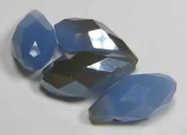 Faceted Drops 12 x 6 mm Sapphire Opal Golden Plated (per 4 beads)