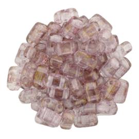 CzechMates Bricks Luster - Transparent Topaz/Pink (per 34)