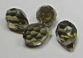 Faceted Drops 8 x 5 mm Smoke Black Diamond (per 4 beads)