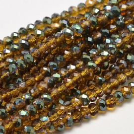 Faceted Rondelles 2 x 3 mm Topaz Green Plated F1145 (per 148 beads)