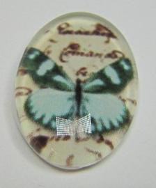 Cabochon Glass Butterfly Aqua G467 (per 1)