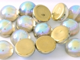 Dome Beads 10 x 6 mm Crystal Golden Rainbow (per 5)
