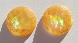 Cabochon Resin Facet Opaal Munt 18 mm Oranje G291-C (per 2)