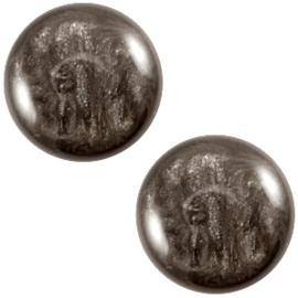 Polaris Cabochon Coin 20 mm Jais Dark Brown (per 1)