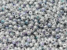 Druk Beads 4 mm Crystal Glittery Silver (per 50)