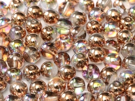 Druk Beads 8 mm Crystal Copper Rainbow (per 10)