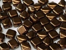 Silky Beads 2-Hole 6 x 6 mm Jet Bronze (per 14)