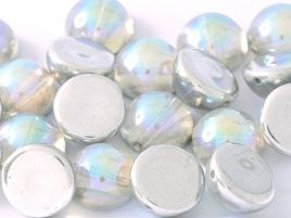 Dome Beads 14 x 8 mm Crystal Silver Rainbow (per 5)