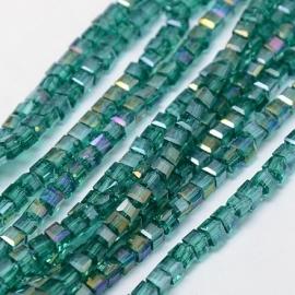 Facet Kubus 3 mm Emerald AB F796 (per 98 kralen)