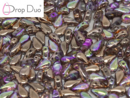 DropDuo 3 x 6 mm Crystal Copper Rainbow (per 50)