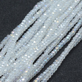 Faceted Rondelles 1,5 x 2 mm Crystal AB F1324 (per 198 beads)