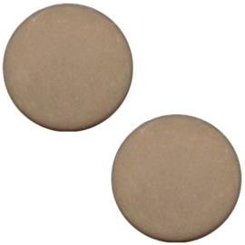 Polaris Cabochon Coin Flat 12 mm Matt Greige (per 1)